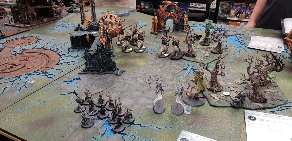 In the first turn, Terry charged into my unit of Fangmora Eel Riders (Akhelian Guards) with his General and in my first turn gets counter-charged by the Akhelian King Dorthindrius, and destroyed.